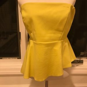 ZARA TRAFALUC YELLOW BUSTIER TOP ASYMMETRICAL